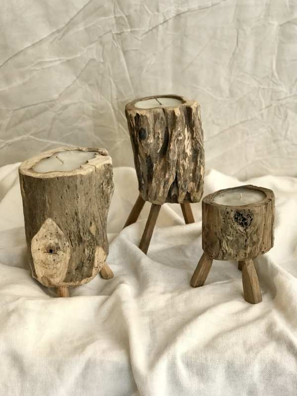 Set porta velas madera