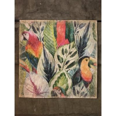 mural tucan con hojas