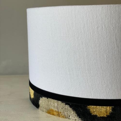 Pantalla cilíndrica , lino /ikat en varios tonos